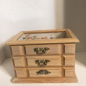 Vintage Large Asian-Crafted Wood Jewelry Box!